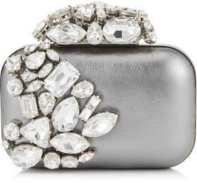 Jimmy Choo CLOUD Steel Metallic Nappa Leather Clutch Bag with Crystals
