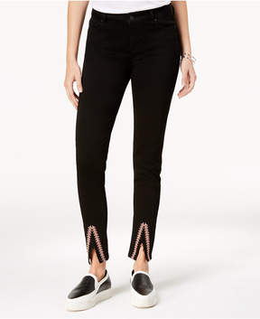 Celebrity Pink Juniors' Embroidered Slit-Hem Skinny Jeans