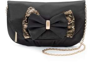 La Regale Lenore By Lenore by Fold-Over Sequin Bow Clutch