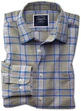 Charles Tyrwhitt Slim Fit Cotton Linen Khaki Check Cotton Linen Mix Casual Shirt Single Cuff Size Large