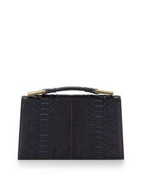 Jason Wu Charlotte Origami Python & Leather Evening Clutch Bag, Navy