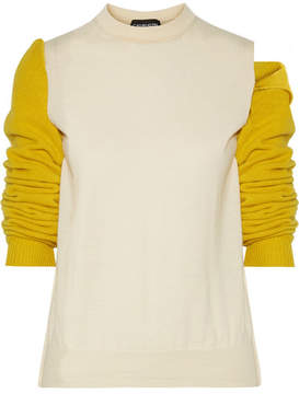 Calvin Klein Convertible Two-tone Wool Sweater - Off-white