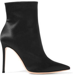 Gianvito Rossi Arles 100 Satin Ankle Boots - Black