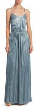 Halston Metallic T-Back Dress