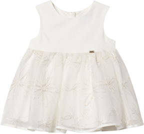 Mayoral Cream Tulle Dress with Silver Embroidered Flowers