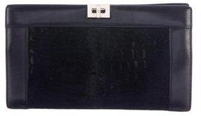 Giorgio Armani Leather-Trimmed Ponyhair Clutch