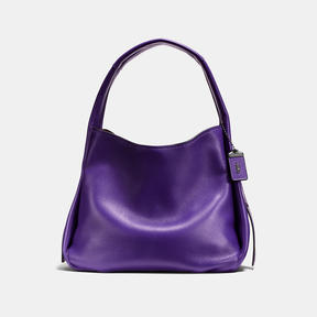 COACH BANDIT HOBO IN NATURAL PEBBLE LEATHER WITH COLORBLOCK SNAKE - BLACK COPPER/VIOLET