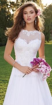 Camille La Vie Beaded Illusion Honeycomb Wedding Dress