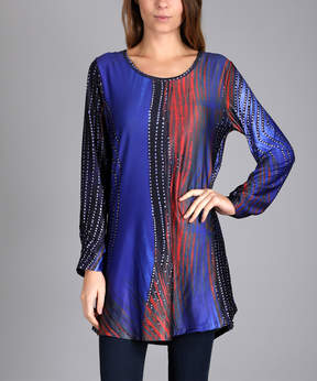 Lily Blue & Red Dotted Stripe Long-Sleeve Tunic - Women