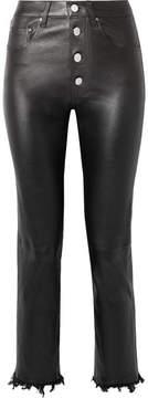Amiri Fringed Leather Straight-leg Pants - Black
