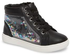 Steve Madden Girl's Shakey Floating Glitter High Top Sneaker
