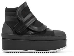 Marni Leather, Canvas And Rubber Ankle Boots - Black