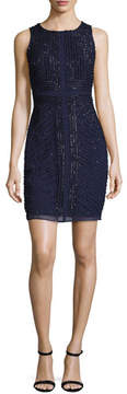 Aidan Mattox Pearl Sleeveless Beaded Georgette Cocktail Dress, Navy