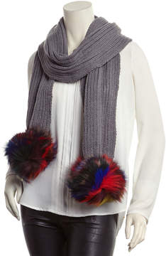 Jocelyn Light Grey Rib-Knit Scarf
