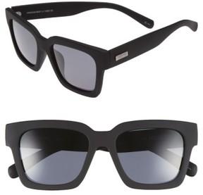 Le Specs Women's 'Weekend Riot' 55Mm Sunglasses - Black Rubber/ Smoke Mono Polar