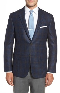 Hickey Freeman Men's Classic B Fit Plaid Wool Blend Sport Coat