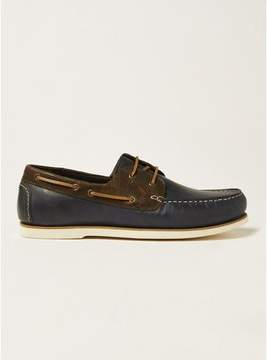 Topman Mens Navy Leather Rapid Boat Shoes
