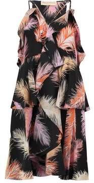 Emilio Pucci Ruffled Printed Silk-Crepe Dress