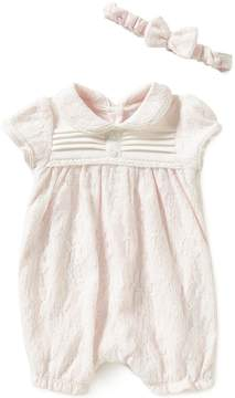 Edgehill Collection Baby Girls Newborn-6 Months Lace Romper and Headband Set