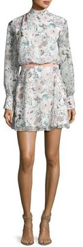 Camilla And Marc Evie Long-Sleeve Floral Chiffon Cocktail Dress, Multicolor