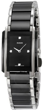 Rado Integral Quartz Black Dial Black Ceramic and Stainless Steel Ladies Watch