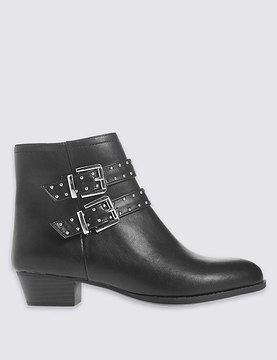 Marks and Spencer Block Heel Stud Strap Ankle Boots