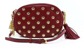 Michael Kors Cherry Red Studded Ginny Chain Messenger Purse Zip Top - REDS - STYLE