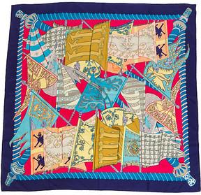 One Kings Lane Vintage HermAs Silk Blue Etendards Scarf - Faivre - Vintage Lux