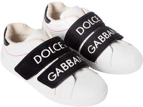 Dolce & Gabbana Logo Print Leather Strap Sneakers