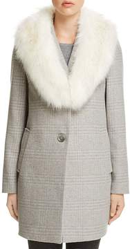 T Tahari Olivia Faux Fur-Trim Coat