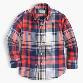J.Crew Kids' lightweight flannel shirt in poppy plaid