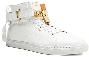 Buscemi 100MM High Top Pebbled Leather Sneakers in White.