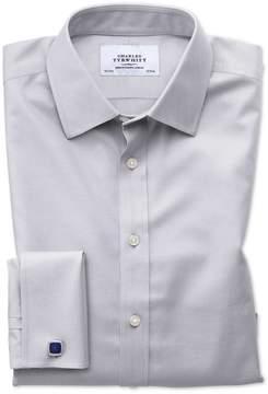 Charles Tyrwhitt Classic Fit Non-Iron Twill Grey Cotton Dress Shirt French Cuff Size 15.5/36