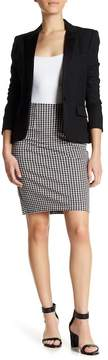 Atelier Luxe Gingham Print Comfort Waist Ponte Pencil Skirt (Petite)