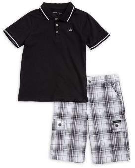 Calvin Klein Jeans Little Boy's Two-Piece Polo and Cotton Shorts Set
