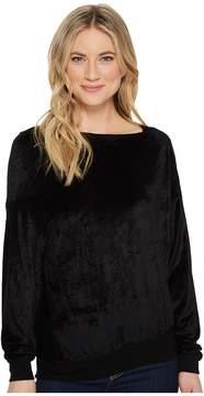 Michael Stars Velvet Long Sleeve Asymmetric Neck Pullover Women's Clothing