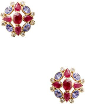Amrapali Women's 18K Yellow Gold, Ruby, Tanzanite & 0.22 Total Ct. Diamond Earrings