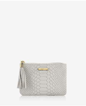 GiGi New York | Zip Pouch In Oyster Embossed Python | Oyster embossed python