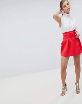 Asos Mini Scuba Lantern Skirt with Button Detail