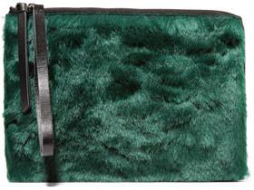 MM6 Maison Margiela Leather-Trimmed Faux Fur Clutch