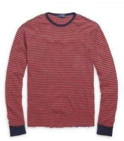 Ralph Lauren Waffle-Knit Cotton T-Shirt Ancient Red/Navy Hthr S