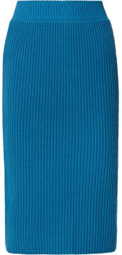 Calvin Klein Ribbed Cotton Skirt - Bright blue