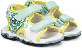 Roberto Cavalli jungle logo print touch strap sandals