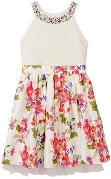 Speechless Girls 7-16 Embellished Lace Floral Skirt Halter Dress