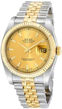 Rolex Oyster Perpetual Datejust 36 Champagne Dial Stainless Steel and 18K Yellow Gold Jubilee Bracelet Automatic Men's Watch 116233CSJ