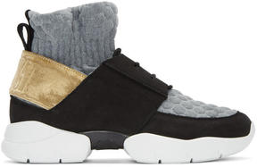 MSGM Black and Gold Ruched Jersey Sneakers