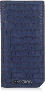Jimmy Choo CLIFFORD Smoky Blue Crocodile Printed Nubuck Leather Bifold Wallet