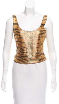 Christian Dior Greene Sleeveless Printed Top