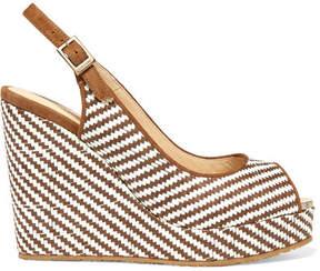 Jimmy Choo Prava 120 Suede-trimmed Woven Raffia Wedge Sandals - Brown