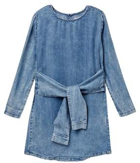 Tractr Tie Front Chambray Dress (Big Girls)